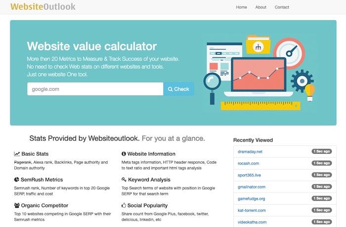 Website Outlook outil d'estimation de nom de domaine