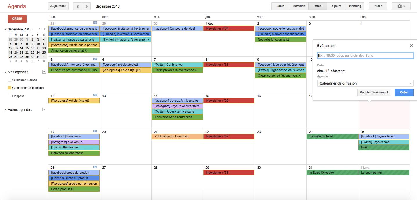 Exemple de calendrier éditoriale
