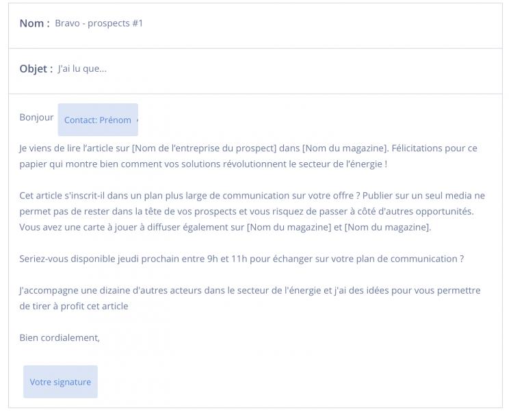 email de prospection exemple