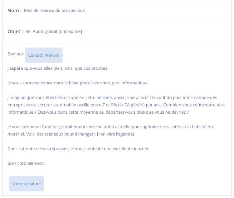 Modele de mail de prospection exemple relance