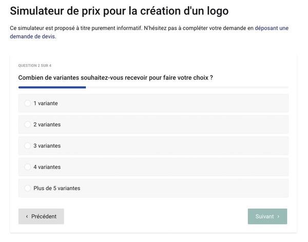 Questionnaire en ligne pour un simulateur de prix de logo